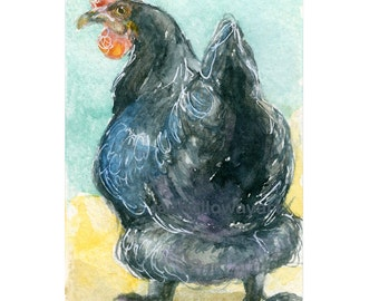 Watercolor Hen, Chicken Print, Hen Print, Chicken Art, Hen Art, Poultry Print