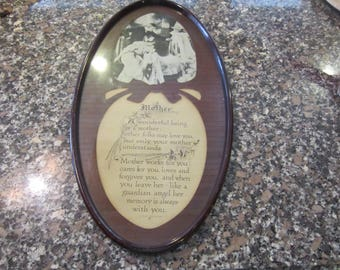 """1913 mother saying framed tin oval frame great condition 10"""" by 19"""""""