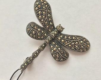 Vintage Estate Judith Jack Sterling Silver Marcasite Dragonfly Pin
