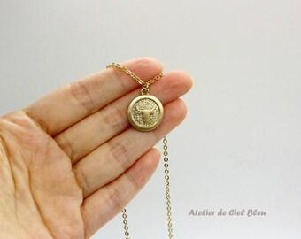 Taurus Necklace, Taurus Zodiac, Brass Astrological Charm w Gold Plated Chain, Taurus Pendant, Horoscope Zodiac Jewelry, Taurus Jewelry