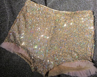 High waisted gold sequin shorts with baby pink tulle ruffle red black pink navy