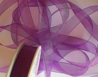 3 meters of purple chiffon Ribbon, width 15mm (M11)