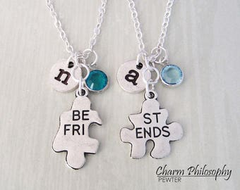 2 Best Friends Necklaces - Connecting Puzzle Piece Necklaces - Matching Necklaces - Personalized Jewelry - Friendship Gifts