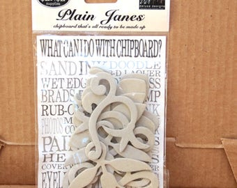 Plain Janes chipboard Decorative Accents-12 pieces