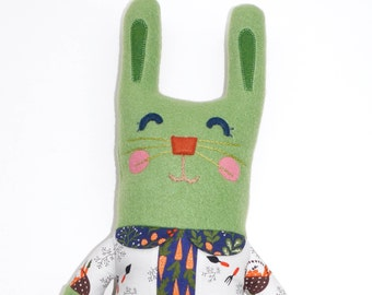 Lucy Lapin Rabbit Plush, stuffie, bunny, plushie, child friendly, cuddly, girl, bunny rabbit, stuffed animal, ooak art doll, rabbit