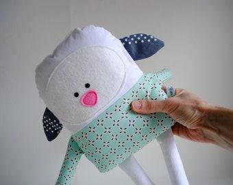 Lamb Stuffed Animal-Lamb Plush-Lamb Softie-Lamb Lovey-Easter Lamb-UpCycled-Repurposed-Hand Sewn Toy-Unique Lamb-Unique Stuffed Animal-Easter