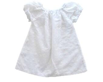 Baby White Dress, Peasant Dress