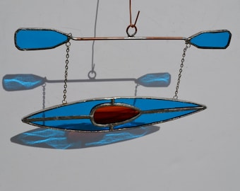 Kayak #2 Stained glass suncatcher hanging from silver steel chain