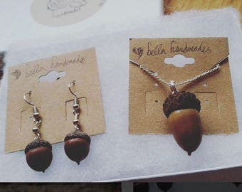 Handmade Acorn Earrings and Necklace Set