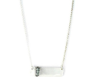 Silver Bar Necklace with  Aquamarine