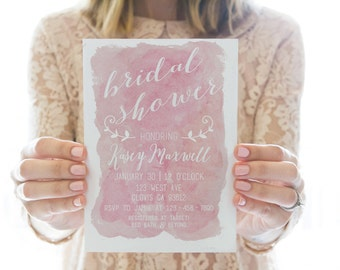 Printed OR Printable Bridal Shower Invitation // Pink Watercolor