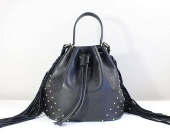 Black leather bucket bag with fringe, Small crossbody bag, Leather fringe bucket bag, Black mini drawstring bucket bag