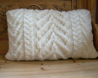 Hand Knitted Hearts Cable Cushion