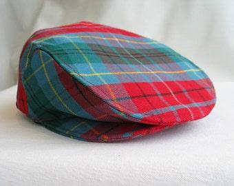 Ivy Cap, Driving Flat Cap in British Columbia Tartan, BC Tartan Newsboy Hat, Made In Canada Tartan Hat, Teal Plaid Flat Cap, Tartan Hat