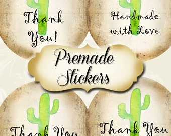 PREMADE•60 Custom 1.5 x 1.5 Round STICKERS•Labels•Tags•Package Labels•Custom Stickers•Custom Labels•CACTUS 2 Rustic