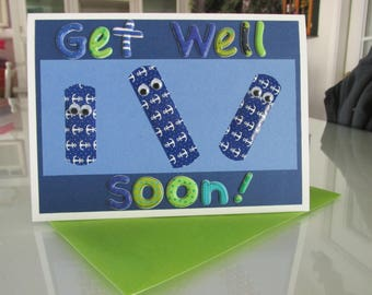 Blue Band-aid Get Well Card