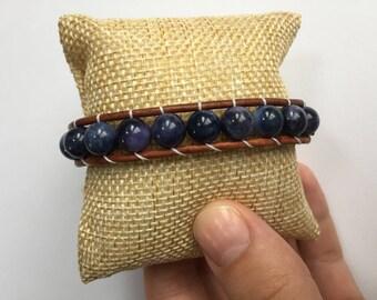 Amethyst Quartz & Natural Brown Leather 1 Wrap Bracelet