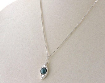 """Sterling Silver And 2ct Green Jasper Pendant Necklace 18"""""""