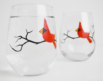 Christmas Cardinal Wine Glasses - Set of 2 Red Bird Glasses, Red Bird Christmas Glasses, Cardinal Glasses, Christmas Glasses, Holiday Decor