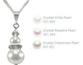 Sterling Silver 10mm Pearl and Crystal drop pendant handmade with Swarovski® Elements
