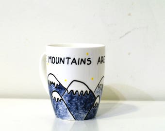 Outdoor gift Take a hike painted mugs Hiking gift camping gift ceramic mug nature lover gift for Hiker gift cute mugs inspirational mugs