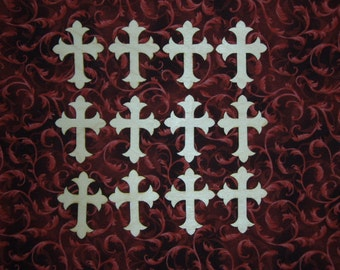 Unfinished Wood Crosses Mini Cut Outs Wood Craft Crosses 12pcs C02-122