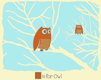 Nursery Screenprint - O is for Owl - Alphabet Print - Kids Wall Art Animal Alphabet art print