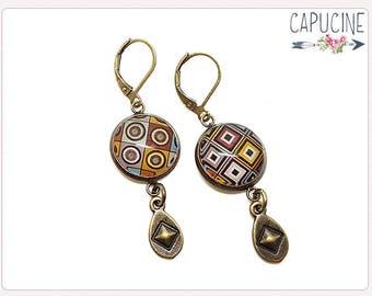 Diamonds & polka dot earrings - Chandelier earrings - Tassel earrings - Glass dome polka dot earrings