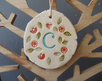 Ceramic  Initial Chime Christmas tree decor / Ceramic Ornament / Valentines day gift / Wedding Favor / Mobile