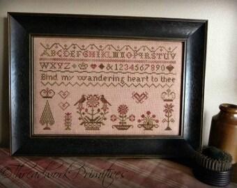 Primitive Cross Stitch Pattern - Wandering Heart