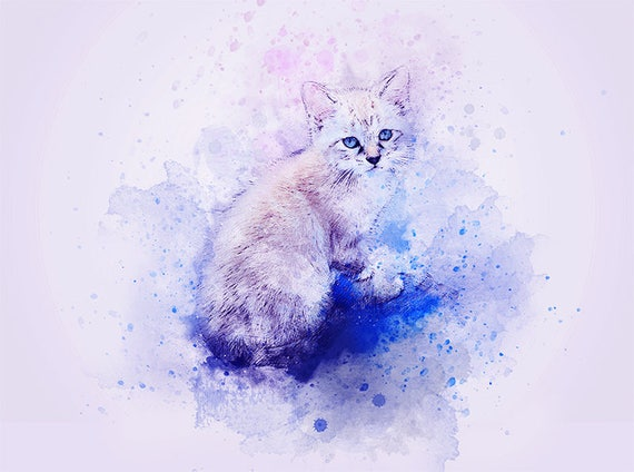 watercolor cat kitten art print
