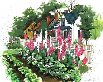 Watercolor of a Charming Cottage