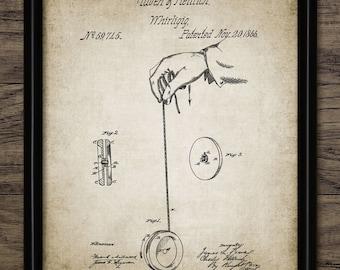 Vintage Yo Yo Patent Print - 1866 Yo Yo Design - Yo Yo Toy - Yo Yo Invention - Single Print #1245 - INSTANT DOWNLOAD