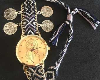 Free shipping within the United States,Bohemian braided watch, Dream catcher watch,Women's watch,Gift idea.