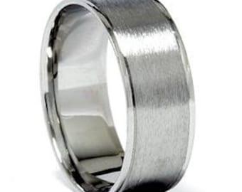 Mens 8MM 950 Platinum Brushed Flat Comfort Fit Wedding Ring Band Sizes (7-12)