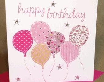 Balloons Birthday Card, Jewelled Birthday Card for Woman/Girl