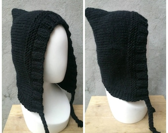 KNITTING PATTERN Knit hood with braids, easy knitting pattern, easy pattern, beginners knitting pattern, beginners pattern