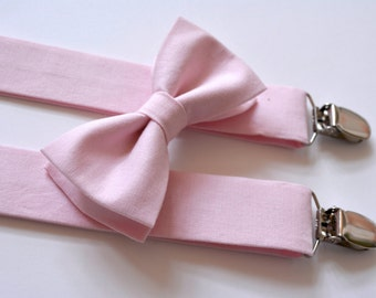 Bow ties and suspenders for boys,pink suspenders and bow ties for kids,wedding ring bearer suspenders and bow tie set