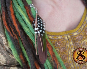 Brown dread feather, boho dread jewellery, brown and green feathers with beaded suede tassels, guinea fowl feather, detachable clasp