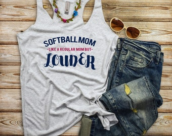 Softball Mom Tanks - Like a Regular Mom But Louder - Momlife Softball Women's Racerback Tank Top