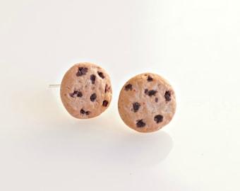 Chocolate Chip Cookie Earrings, Miniature Food Earrings, Cookie Jewelry, Chocolate Cookie Studs, Biscuit Earrings, Kawaii Jewelry