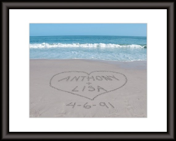 Sand Writing Art Personalized Beach Print Unique Valentines