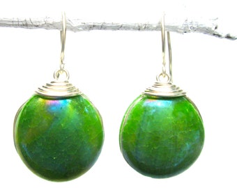 Green glass earrings with silver