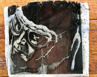 Aviator art Engraved on old Barn wood
