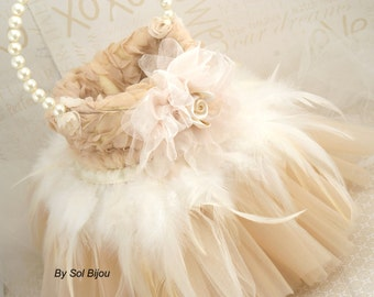 Flower Girl Basket, Tutu Basket,Champagne, Cream, Tan, Gold, Ivory, Vintage Style, Elegant Wedding, Feathers, Gatsby, Tulle Skirt
