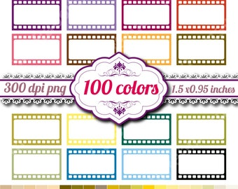 Filmstrip, Film Strip, Half Box | 100 Colors | Erin Condren Life Planner ECLP | Commercial Use | Printable Planner Stickers | A053