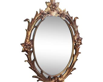 Vintage French Provincial Italian Rococo Ornate Gold Gilt Oval WALL MIRROR