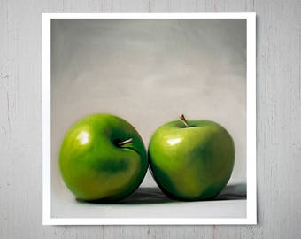 Apple Duo - Fine Art Oil Painting Archival Giclee Print Decor by Artist Lauren Pretorius
