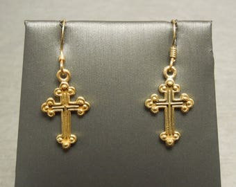 "Vintage Estate C1980 925 Gold over Sterling Silver Petite Cross Hanging Dangling Earrings 1.25"""
