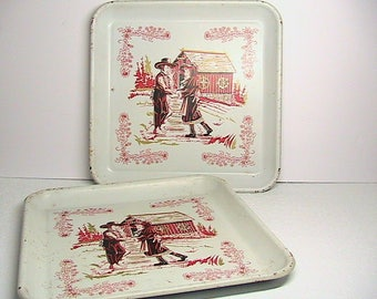 Trays, Vintage Metal Trays, Set of 2 Metal Trays, Red White Trays